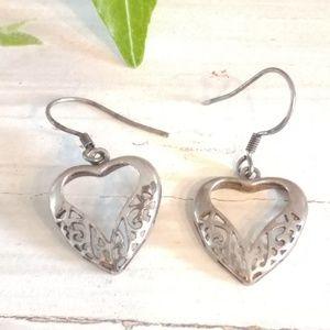 Jewelry - Vtg Heart Solid Sterling Silver 925 Earrings
